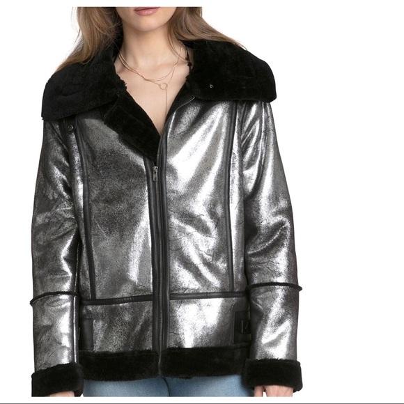2a70707d0da AVEC LES FILLES Metallic Biker Jacket Faux Fur